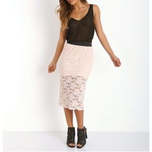 NWT Free People Blush Lace Pencil Skirt S